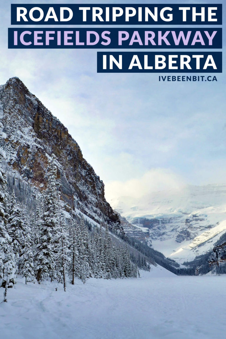 Alberta road trip itinerary. Exploring the Rocky Mountains is a must when visiting Alberta. Don't let snow deter you and explore the beauty of the province from Calgary to Edmonton! Drive from Calgary to Edmonton and stop in Banff, Lake Louise and Jasper. | #Travel #Canada #Alberta #Calgary #Edmonton | IveBeenBit.ca