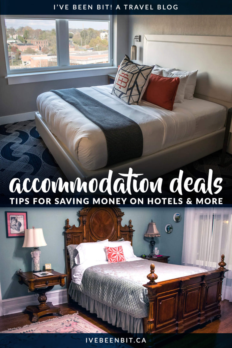 Travelling on a budget? You don't want to miss these tips on saving money on hotels, Airbnb and more. See how you can keep more money in your pocket as you travel. There is no magic website that will find you the best hotel deals, but this guide has tips for saving money on accommodation! | #Travel #Accommodation #Hotels #HotelDeals | IveBeenBit.ca