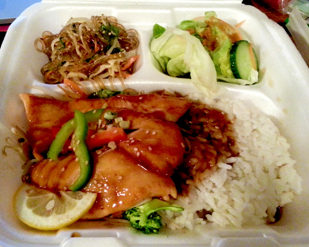 A take-out portion of the salmon sushi bento box... which includes sushi too that's not pictured here!