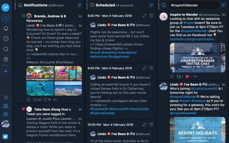 Tweetdeck Screenshot Showing How I Use It During Travel Twitter Chats :: I've Been Bit! Travel Blog