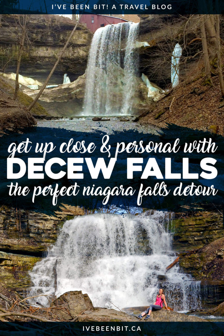 Heading to Niagara Falls? Why not hit another waterfall on your way? DeCew Falls is a detour you definitely don't want to miss! Waterfalls in Niagara Ontario Canada. Ontario waterfalls. Ontario hiking trails. Waterfall hikes in Ontario. | #Travel #Canada #Ontario #NiagaraFalls #Waterfalls #Hiking #StCatharines | IveBeenBit.ca