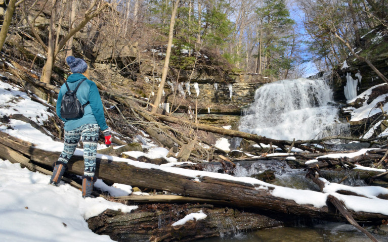 Lindsay Standing in Front of Lower DeCew Falls in Winter :: I've Been Bit! A Travel Blog