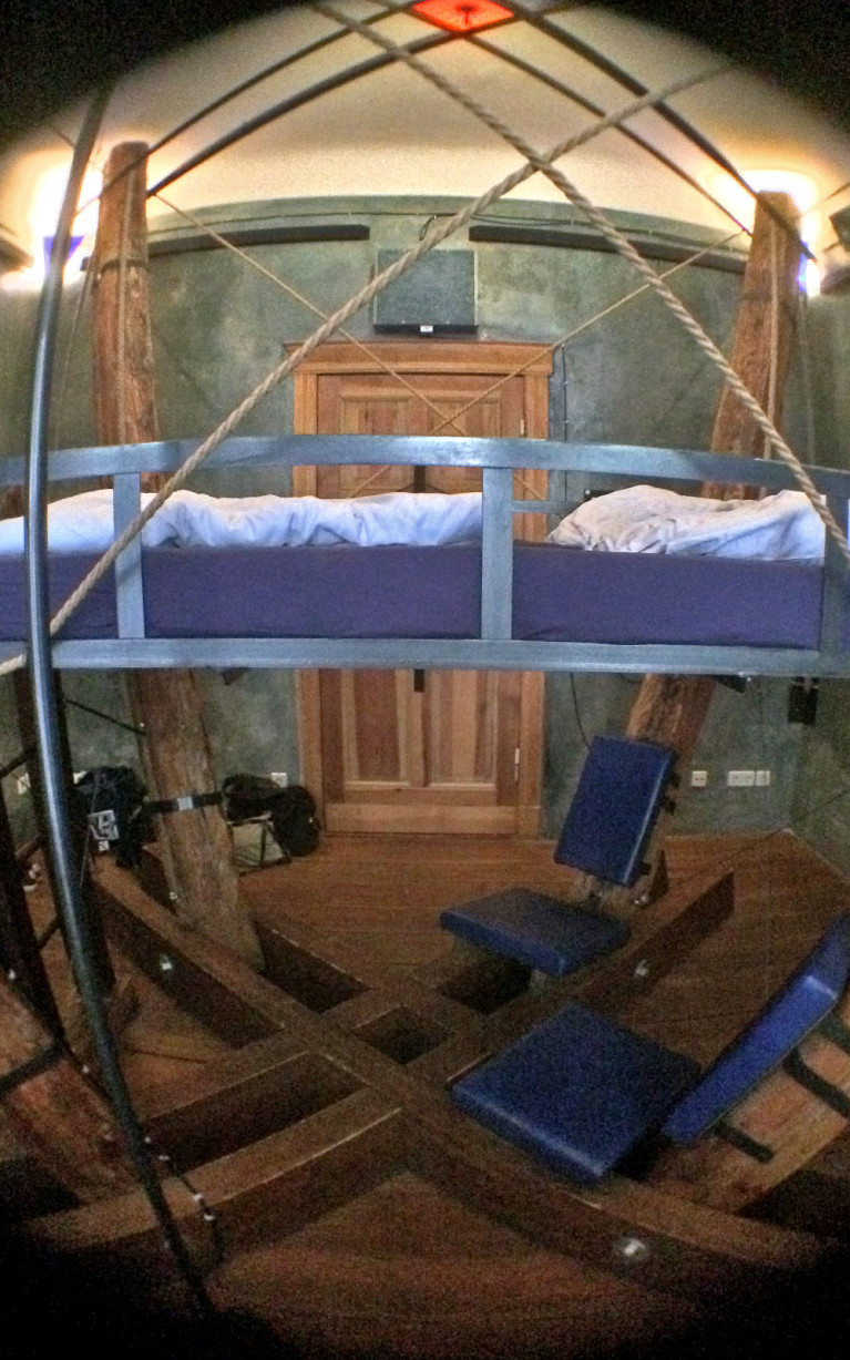 Bed and Seating Area of 4 Beams at Propeller Island City Lodge :: I've Been Bit! A Travel Blog