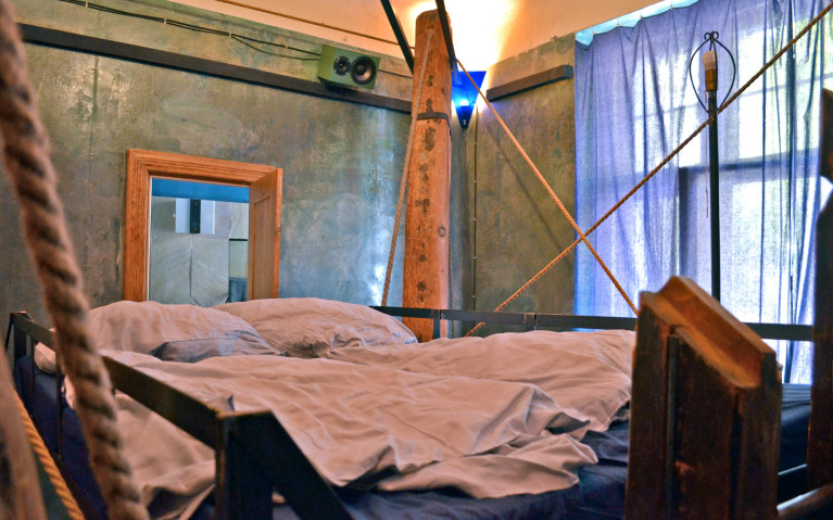 Bed View of 4 Beams at Propeller Island City Lodge :: I've Been Bit! A Travel Blog