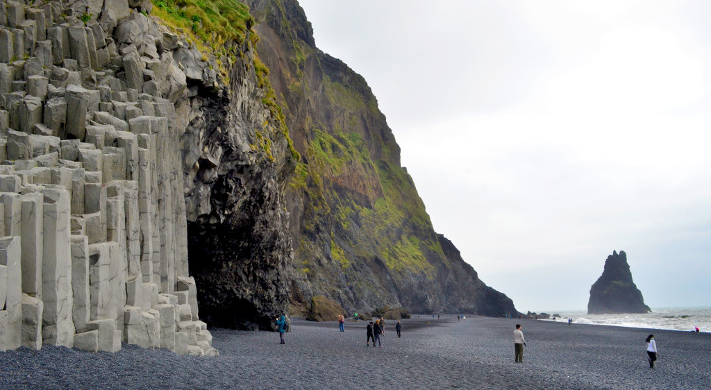 Pictured is Halsanefshellir, featuring columnar basalt formations created when magma cools slowly and cracks into columns.