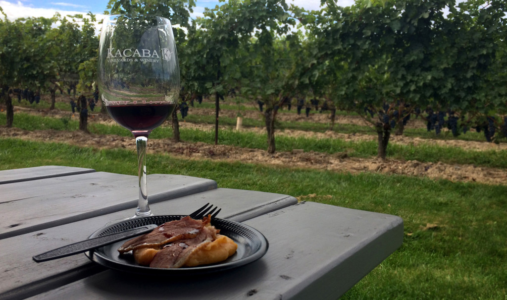 Glass of Wine & A Sampling of Duck at Kacaba Vineyards, one of the Great Vineland Wineries! :: I've Been Bit! Travel Blog