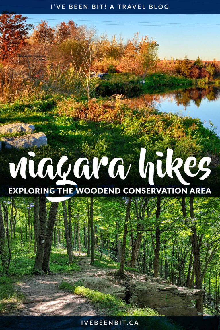 The Woodend Conservation Area in Niagara-on-the-Lake is a favourite among locals. It has a number of hiking trails in the Niagara region, including the Bruce Trail. Enjoy the beautiful forests as you follow the Niagara Escarpment and I'll show you where you can even enjoy some vineyards too! | Hiking in Ontario | Niagara Hiking Trails | Hiking Near Niagara Falls Ontario Canada | Niagara Walking Trails | Niagara Park | IveBeenBit.ca