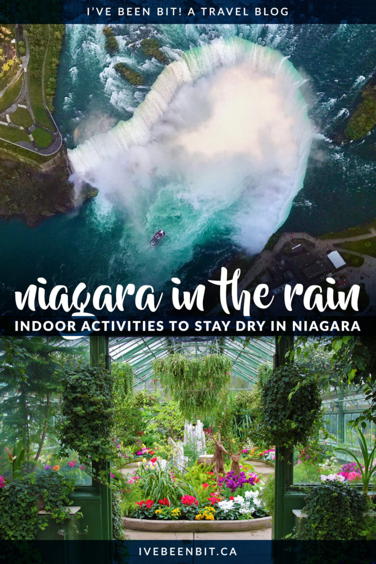 Travelling to Niagara Falls but the weather forecast is looking bleak? Never fear! There are plenty of great things to do in Niagara Falls on a rainy day. From butterflies to arcades, you won't want to miss these indoor attractions in Niagara Falls Ontario Canada. | Visiting Niagara Falls in the Rain | What to Do in Niagara Falls on a Rainy Day | Rainy Day in Niagara Falls. | Ontario Travel | Canada Travel | IveBeenBit.ca