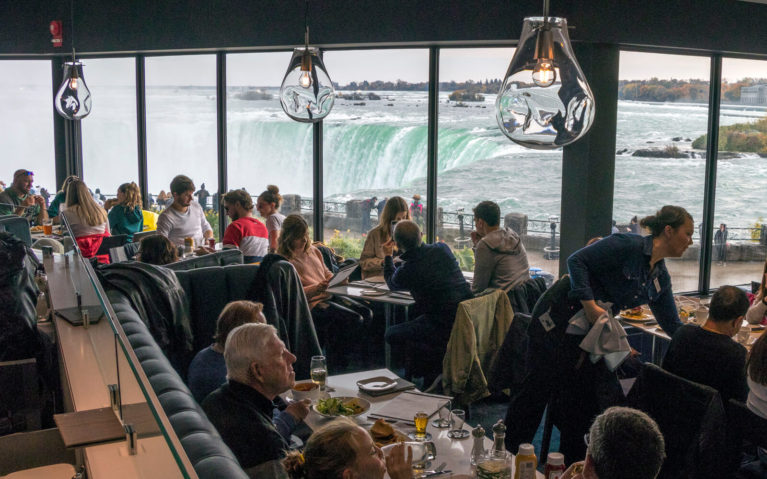 Table Rock Restaurant Dining Room with Views of the Horseshoe Falls in the Windows :: I've Been Bit! Travel Blog