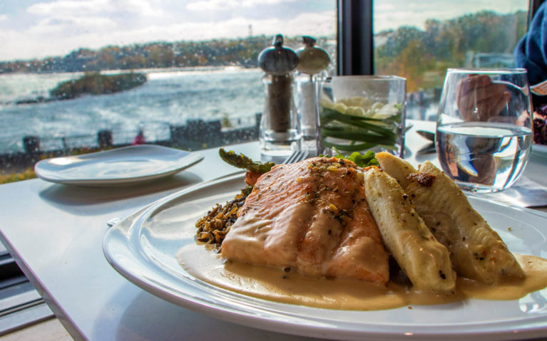 Manitoulin Rainbow Trout and Whitefish Dinner with Views of the Niagara River in the Background at the Table Rock Restaurant :: I've Been Bit! Travel Blog