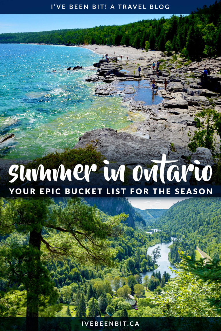 Summer time means getting outdoors and exploring! Unsure about where to go or what to do? This guide has all the top things to do in Ontario this summer. Take a look at this Ontario summer bucket list and plan some adventures! | #Travel #Canada #Ontario #Summer | IveBeenBit.ca