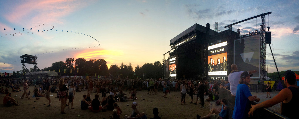 View of the main stage at WayHome Music Festival at Sunset :: I've Been Bit! Travel Blog