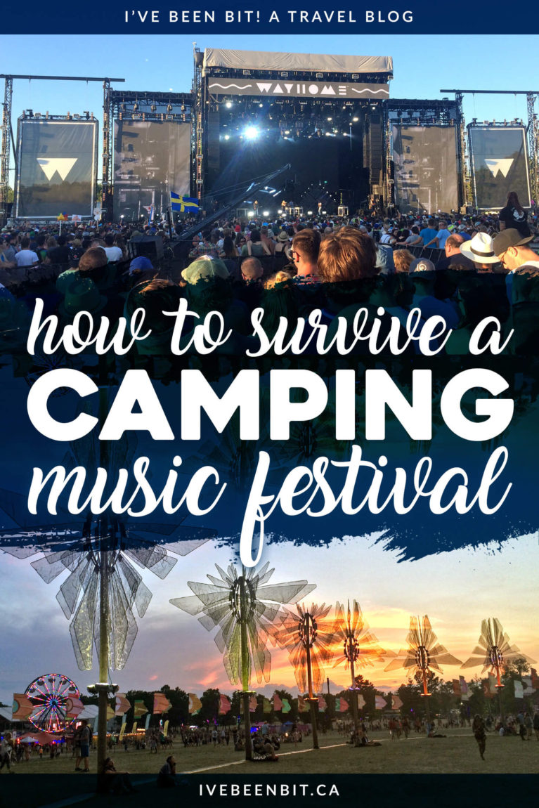 Never camped overnight for a music festival? Or looking for some first-hand advice? Learn from my mistakes as I experienced (and survived!) my first camping music festival. You'll find a camping music festival packing list, tips for the festival and more! | #Travel #FestivalSeason #Camping #CampingFestival #Canada #Ontario | IveBeenBit.ca