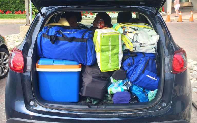 Trunk of Crossover Vehicle Stuffed with Camping Music Festival Gear :: I've Been Bit! Travel Blog