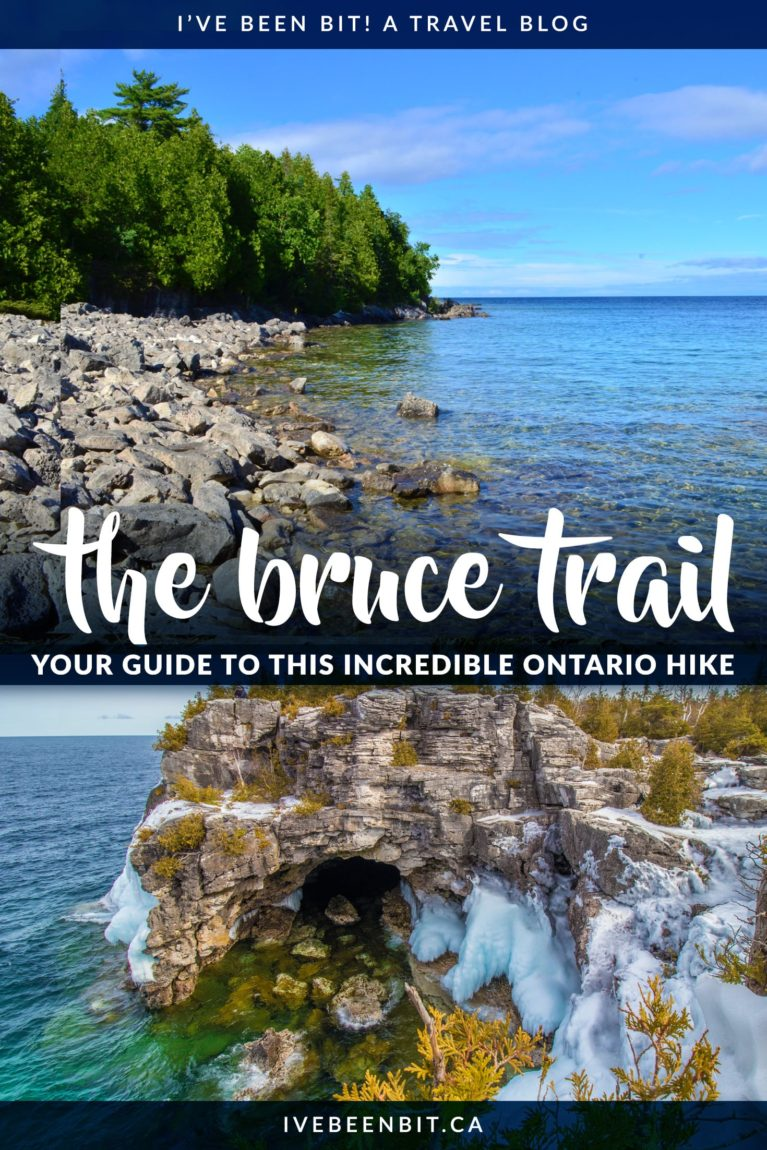 Looking for an incredible hiking adventure in Ontario, Canada? You MUST check out this guide about how to hike the Bruce Trail. As the oldest trail in Canada, it stretches 900km from Niagara to Tobermory. This Bruce Trail guide has everything you need to know about hiking the trail so you can plan your own adventure! Where to hike in Ontario. Hiking in Canada. Hiking the Bruce Peninsula. | #Travel #Canada #Ontario #Hiking | IveBeenBIt.ca