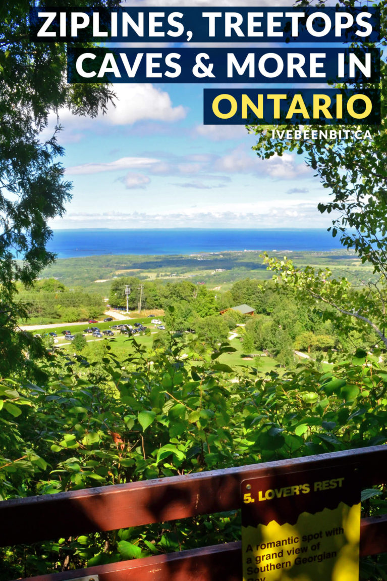 Take in the beauty of the Georgian Bay at Ontario's Scenic Caves Nature Adventures! With ziplining, hiking, treetop trekking and more, this is an Ontario destination you don't want to miss. Just a few hours from Toronto, it makes a fantastic Ontario day trip or even an awesome Ontario road trip destination. | Adventure Ontario Canada | #Travel #Canada #Ontario | IveBeenBit.ca