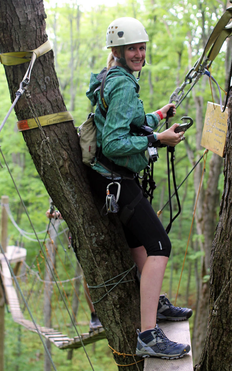 Lindsay Along the Treetop Trekking Portion of the Scenic Caves Eco Adventure Tour :: I've Been Bit! Travel Blog