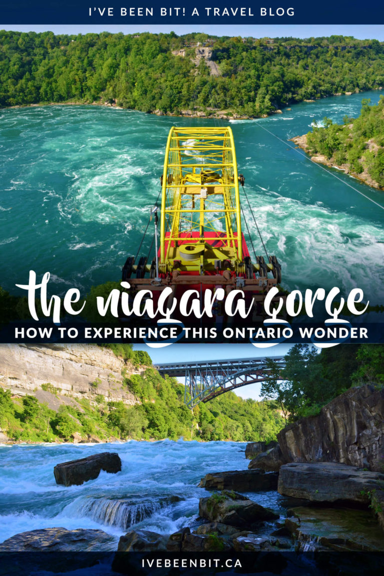Everyone flocks to Niagara Falls but little do they realize the natural wonder of the Niagara Gorge. Admire its sheer cliffs as you experience it in a new light with these 5 things to do in Niagara Falls Ontario Canada. | Explore the Niagara Gorge in Ontario | Niagara Falls Whitewater Rapids | Niagara Falls Attractions | Hiking Trails in Niagara Falls | IveBeenBit.ca