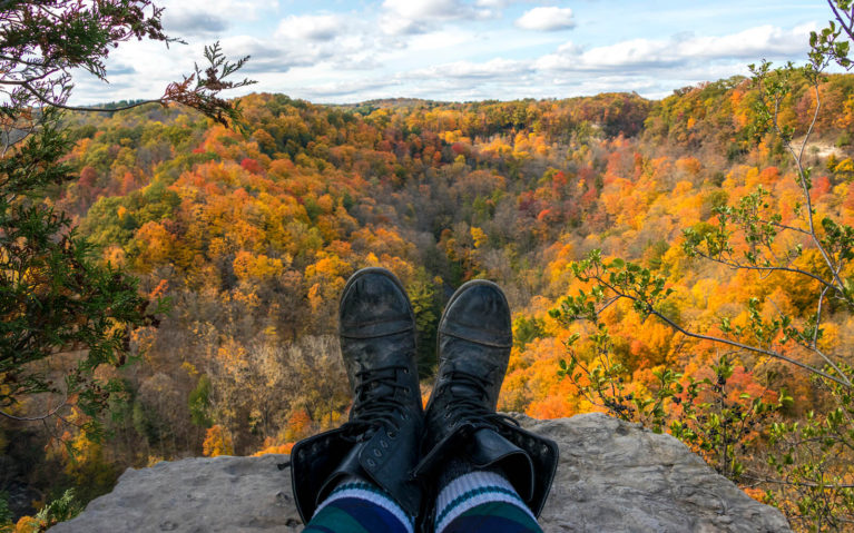 Lindsay's Boots with Autumn Colours of Dundas Peak Behind Them :: I've Been Bit! Travel Blog