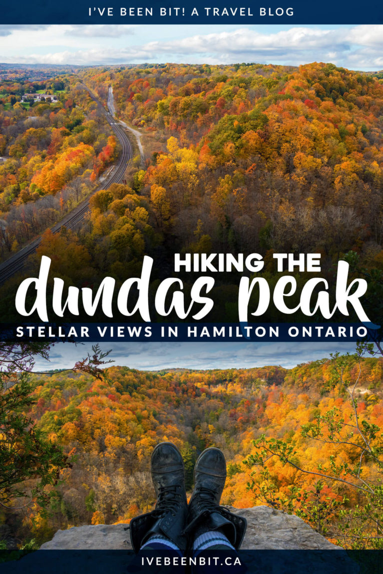This is one hike in Ontario you won't want to miss! Head to Hamilton Ontario for incredible views from the Dundas Peak Trail. This guide shows everything you need to know for one of the best Ontario hiking trails! | #Travel #Hiking #Canada #Ontario #Hamilton #DundasPeak | IveBeenBit.ca