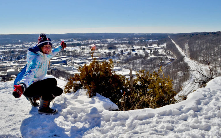 Lindsay Posing at the Top of Dundas Peak in the Winter :: I've Been Bit! Travel Blog