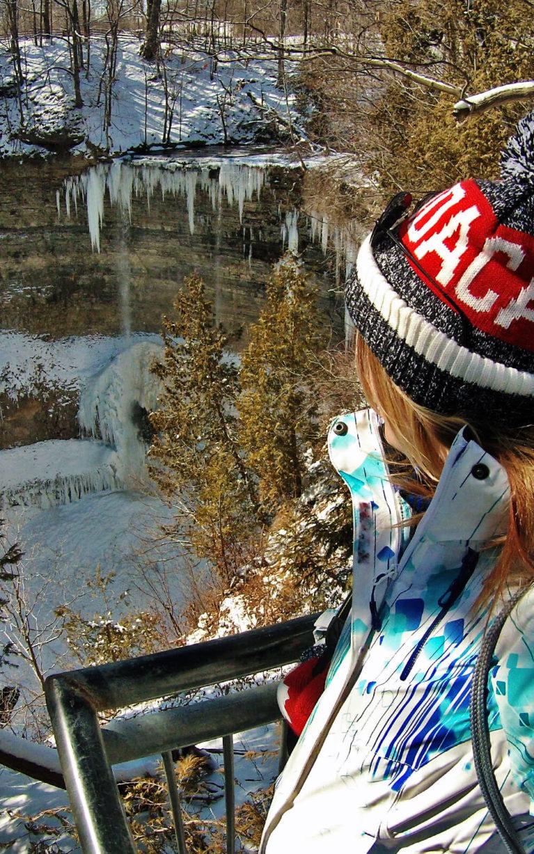 Lindsay On the Viewing Platform Overlooking a Frozen Tews Falls :: I've Been Bit! Travel Blog