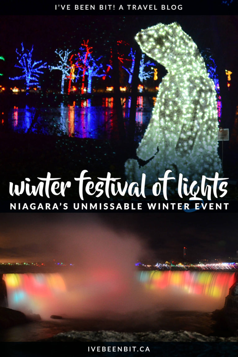 Visiting Niagara Falls in winter? You won't want to miss the Niagara Winter Festival of Lights! This incredible light display is sure to get you in the holiday spirit. It's a must do when visiting Niagara Falls! | #Travel #Canada #Ontario #NiagaraFalls #Winter | IveBeenBit.ca