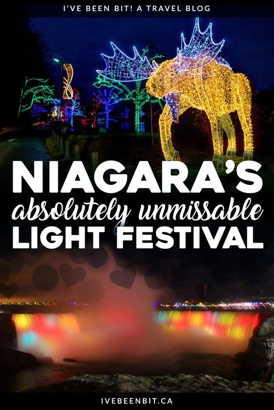 Visiting Niagara Falls? Looking for things to do in Niagara Falls in winter? You won't want to miss the Niagara Winter Festival of Lights! This incredible light display is sure to get you in the holiday spirit. It's a must do when visiting Niagara Falls! | Things to Do in Niagara Falls | #Travel #Canada #Ontario #NiagaraFalls #Winter | IveBeenBit.ca