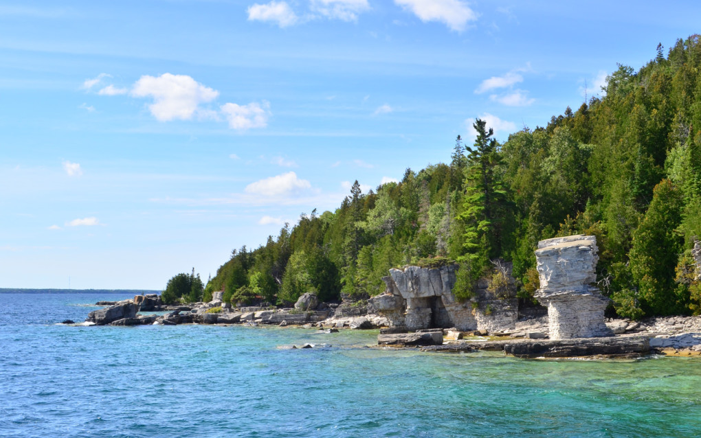 View of Flowerpot Island north of Tobermory from the water :: I've Been Bit! Travel Blog