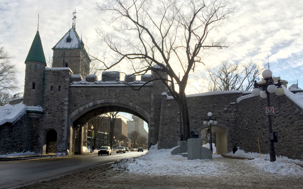 Winter view of the Quebec Fortifications as you enter the Old Town :: I've Been Bit! Travel Blog