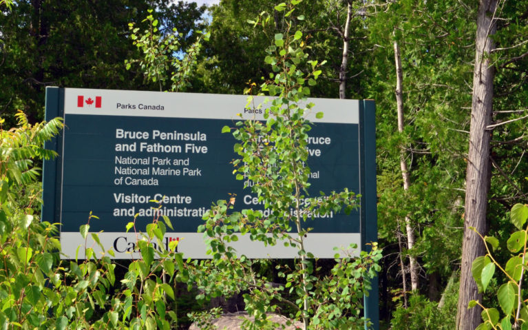 Parks Canada National Parks Sign for Bruce Peninsula National Park and Fathom Five Marine Park :: I've Been Bit! Travel Blog