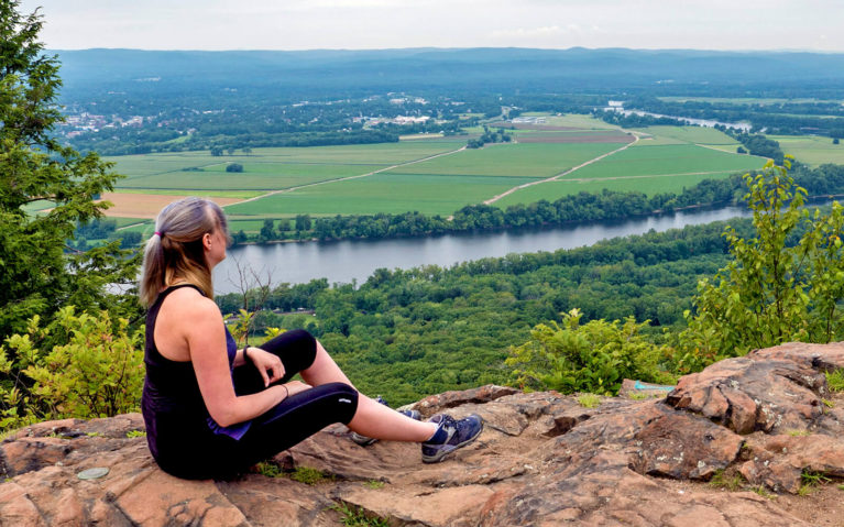 Lindsay Sitting At The Top of Mt Holyoke in Hampshire County :: I've Been Bit! Travel Blog