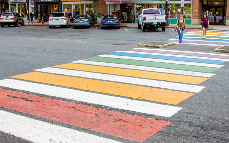 Rainbow Crosswalk in the Heart of Downtown Northampton :: I've Been Bit! Travel Blog
