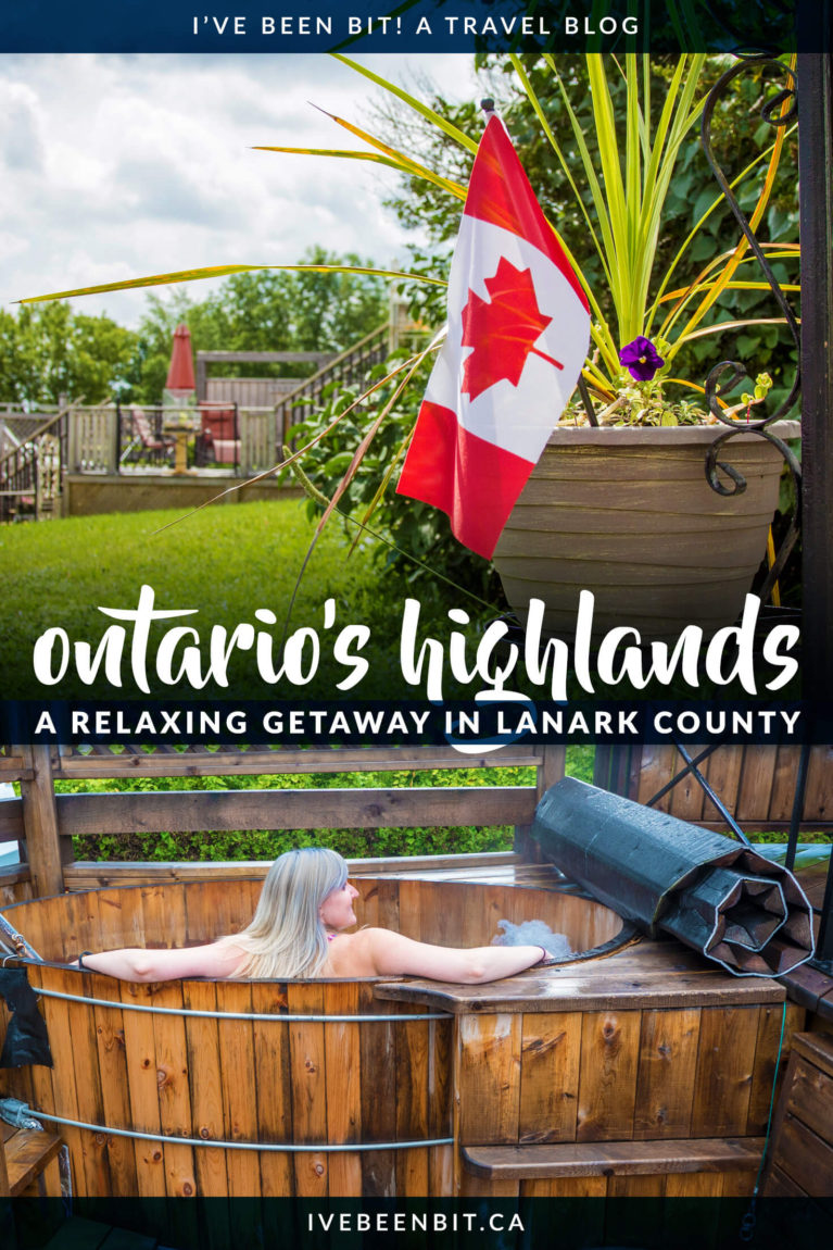 Looking for a serene weekend getaway in Ontario? Lanark County in Ontario's Highlands is the place to be! Enjoy a relaxing trip as you soak your stress away with spa time, great restaurants, adorable towns and so much more. Click for all the details! | Ontario Getaways. Ontario Road Trips. Ontario Travel. Eastern Ontario Travel. | #Travel #Canada #Ontario #LanarkCounty | IveBeenBit.ca