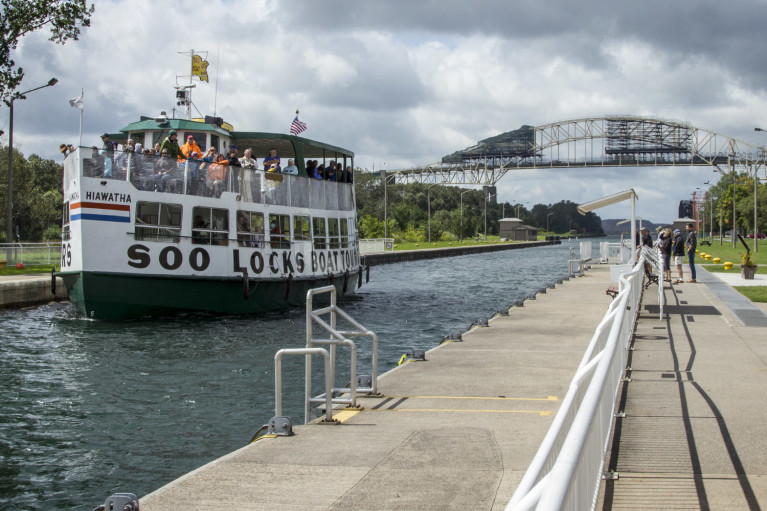 One of the Soo Locks Boat Tours Coming Down the Canal :: I've Been Bit! Travel Blog