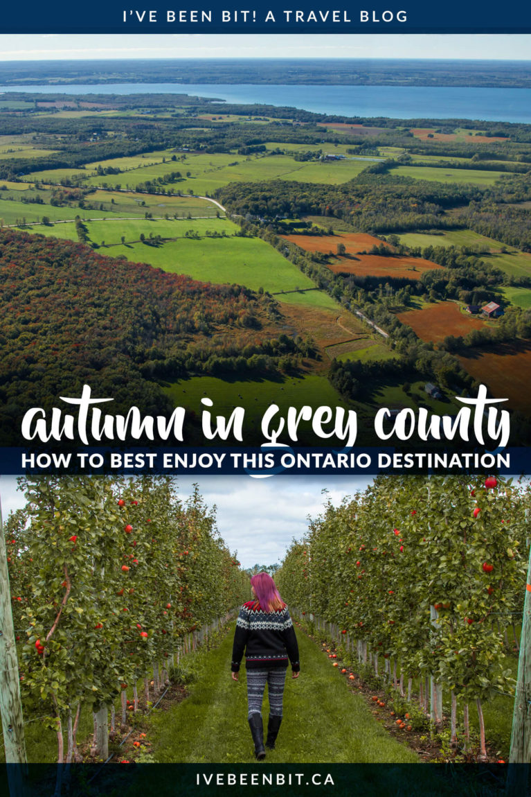 Grey County is a destination for all seasons, but you don't want to miss this area of Ontario in the fall. Autumn brings a wide range of colours and activities that you won't want to miss! This Grey County guide has everything you need to plan an epic autumn Ontario adventure. Things to do in Ontario in autumn. | #Travel #Canada #Ontario #GreyCounty #Autumn #Fall #Hiking #Waterfalls #Restaurants | IveBeenBit.ca