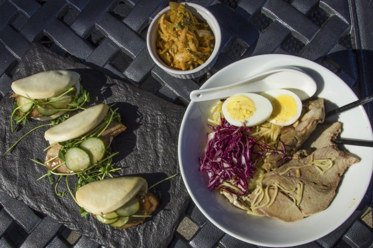 Delicious spread of Pork Ramen and Steamed Buns at Cobble Beach in Owen Sound Ontario :: I've Been Bit! A Travel Blog
