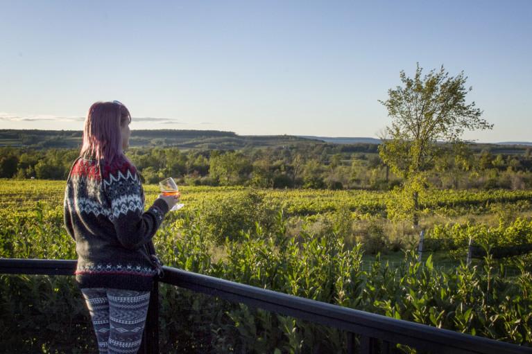Lindsay Enjoying a Glass of Wine at Coffin Ridge on a Grey County Autumn Getaway :: I've Been Bit! Travel Blog