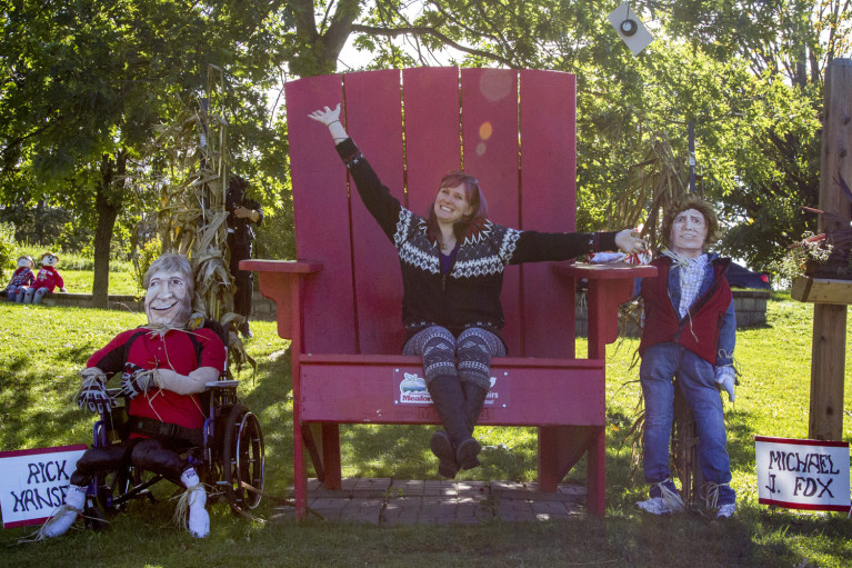 Lindsay hanging out with the Meaford Scarecrows :: I've Been Bit! A Travel Blog