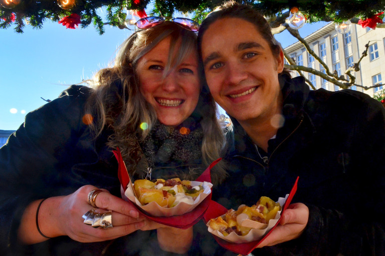 Robin & I enjoying Raclette at at Kassel Weihnachtsmarkt - A Fairy Tale German Christmas Market :: I've Been Bit! A Travel Blog