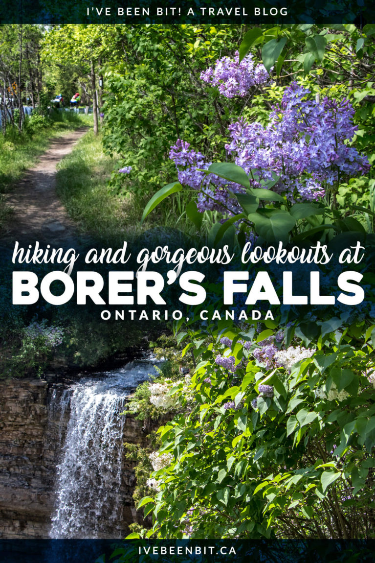 Hamilton Ontario is known as the city of waterfalls for a reason. While there are over 100 waterfalls to explore, this is a quiet gem you don't want to miss. You'll love exploring Borer's Falls in Canada! A waterfall hiking trail you can't miss. Waterfalls in Ontario. Waterfalls in Canada. | #Travel #Canada #Ontario #Hamilton #Hiking #Waterfalls | IveBeenBit.ca
