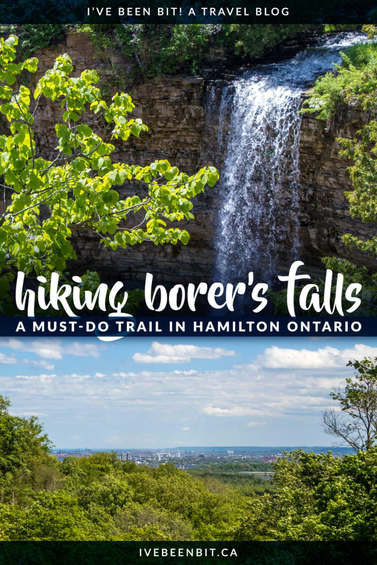 Hamilton Ontario is known as the city of waterfalls for a reason. While there are over 100 waterfalls to explore, this is a quiet gem you don't want to miss. You'll love exploring Borer's Falls in Canada! | A waterfall hiking trail you can't miss. Waterfalls in Canada. Waterfalls in Ontario. | #Travel #Canada #Ontario #Hamilton #Hiking #Waterfalls | IveBeenBit.ca