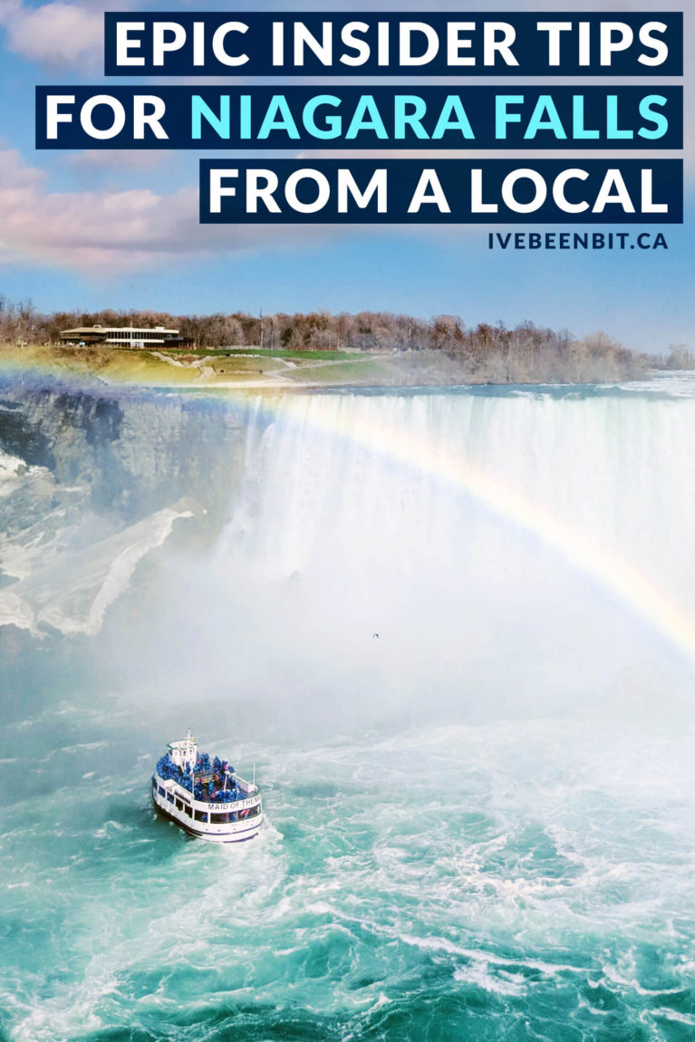Niagara Falls is tourist hot spot in Canada! The downfall of attracting millions of visitors every year is that it can get busy (and pricey). Check out my insider travel tips so you can have the best trip to Niagara Falls, Ontario and not break the bank! Travel guide for Niagara Falls, Canada. | #Travel #Canada #Ontario #NiagaraFalls #TravelTips #TravelAdvice | IveBeenBit.ca