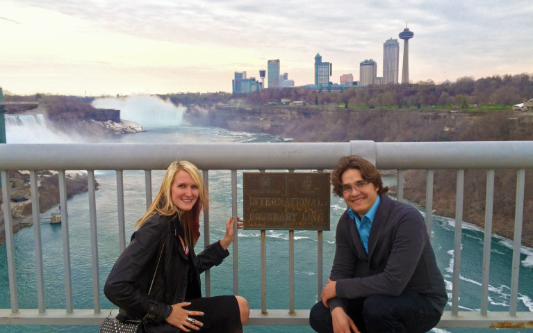 Straddling Niagara Falls American Side and Niagara Falls Canadian Side :: I've Been Bit! A Travel Blog