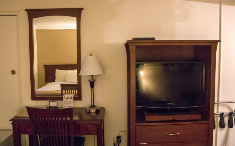 Desk and TV inside this Hay River NWT Hotel :: I've Been Bit! A Travel Blog