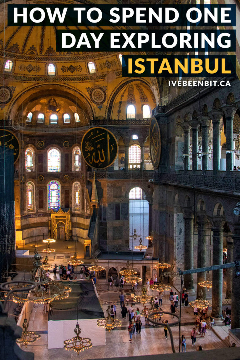 Only have one day to explore Istanbul and looking to see the sights? These are the top things to do in Istanbul, Turkey. Including Hagia Sophia, Blue Mosque and more! One day in Istanbul Turkey guide. Istanbul itinerary. | #Travel #Europe #Asia #Turkey #Istanbul #IstanbulItinerary | IveBeenBit.ca