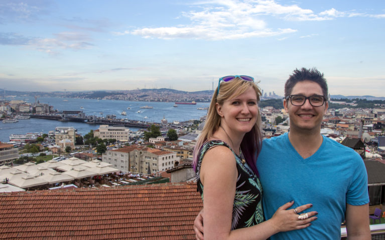 Robin and I with the Mimar Sinan Teras Cafe View :: I've Been Bit! A Travel Blog