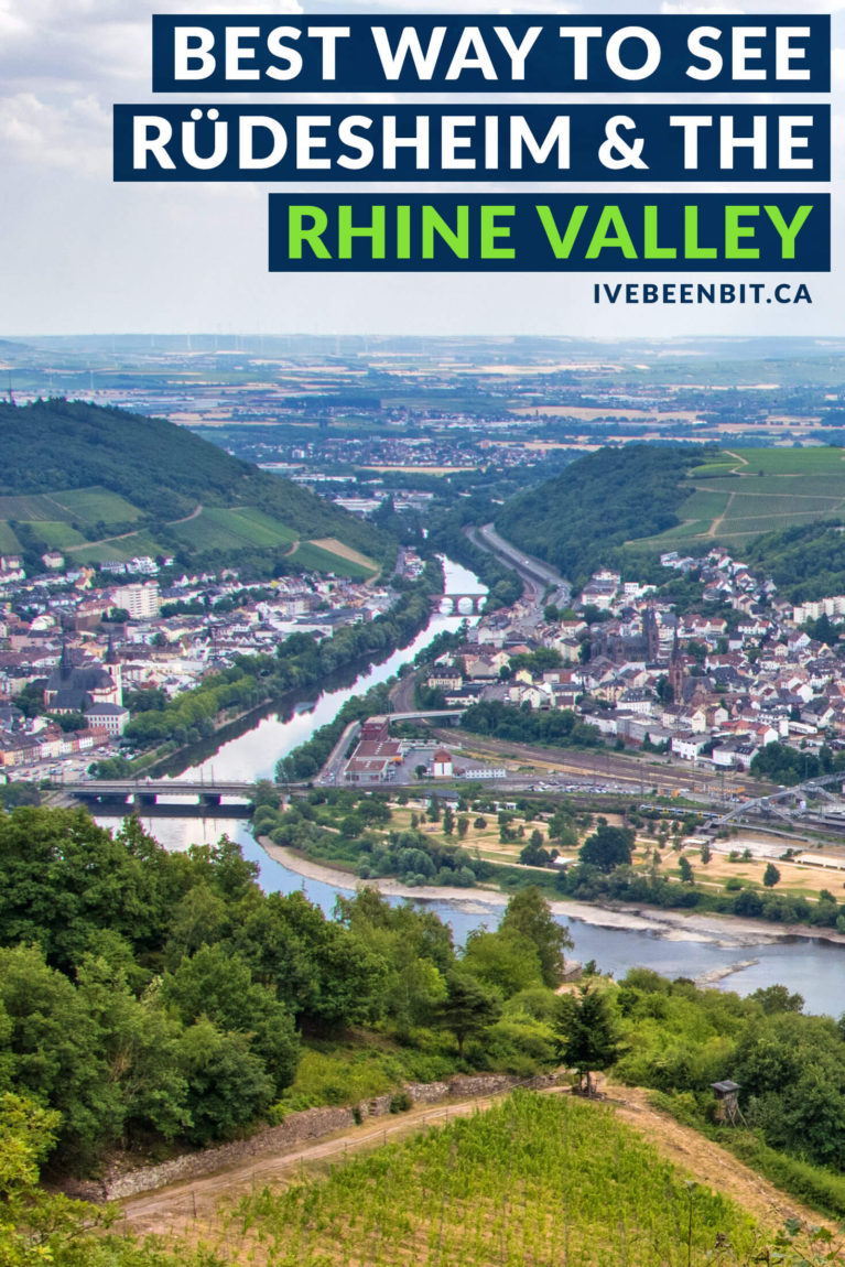 The best way to see #Rüdesheim is by taking the Ring Ticket Tour! Enjoy views of the Rhein River as you explore the Niederwald and Assmanshausen. It's a must do when visiting the Rhine. Travel Tips for Rudesheim am Rhein. | #Travel #Hiking #Hesse #Rudesheim #RhineRiver #Rhein #TravelGuide | IveBeenBit.ca
