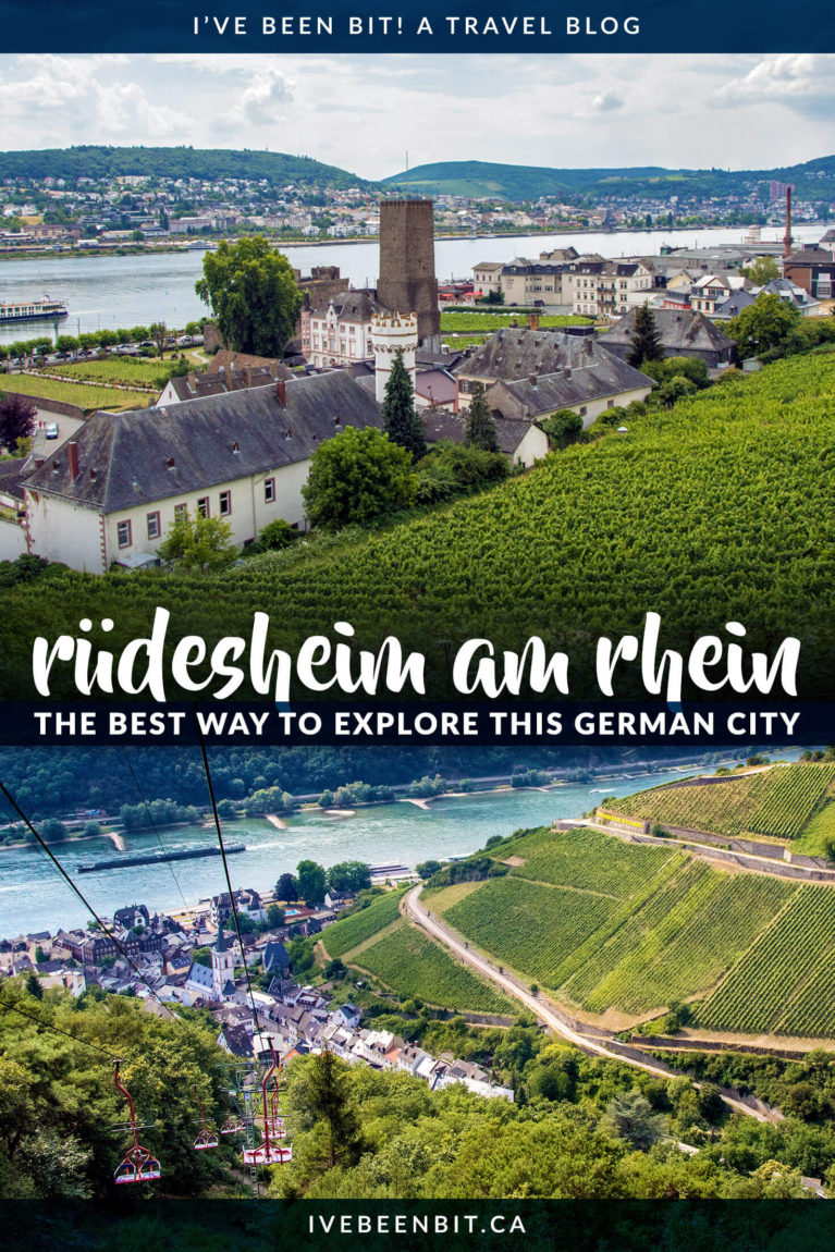 Rüdesheim am Rhein in Hessen, Germany is a picturesque, quaint winemaking town just one hour from Frankfurt. Located in the Rhine Gorge, you'll fall for its cobblestone streets, half-timbered houses and sprawling vineyards. Check out the best way to enjoy it all with the Rudesheim Ring Ticket Tour! | #Travel #Europe #Germany #TravelTips | IveBeenBit.ca