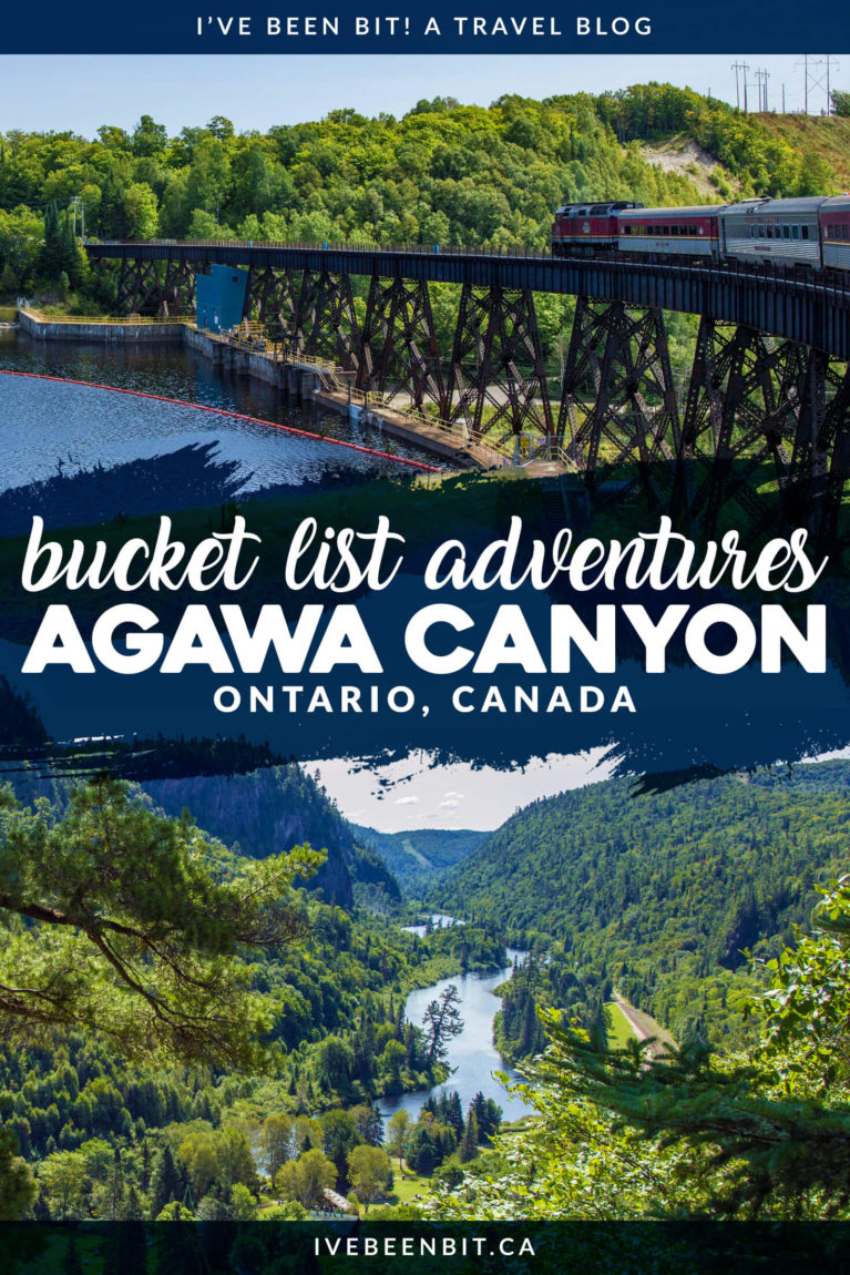 This is one Sault Ste Marie day trip you don't want to miss. Travel by train to the heart of Northern Ontario with an epic full-day excursion. The majestic views of the Agawa Canyon Tour Train will take your breath away! | #Travel #Canada #Ontario #SaultSteMarie #AgawaCanyon #Summer | IveBeenBit.ca